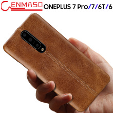 For Oneplus 7 Case Genuine Leather Back Cover For Oneplus 7 Pro 6 6T Fashion Business Protective Case One Plus 7 6 6T Luxury