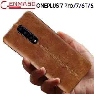 Image 1 - Oneplus 7 Durumda Hakiki Deri arka kapak Için Oneplus 7 Pro 6 6T Moda İş Koruyucu Kılıf Bir Artı 7 6 6T Lüks