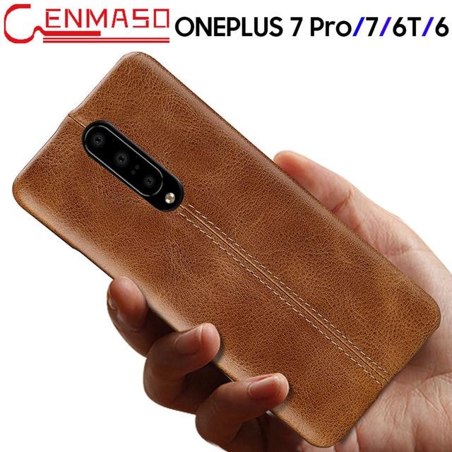 Oneplus 7 Durumda Hakiki Deri arka kapak Için Oneplus 7 Pro 6 6T Moda İş Koruyucu Kılıf Bir Artı 7 6 6T Lüks