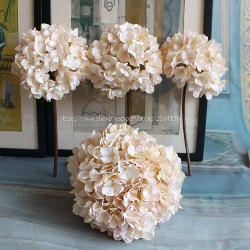 Single large hydrangea home wedding decorationtable centerpieces single large hydrangea home wedding decorationtable centerpieces flower arrangement baby pink dark red green in artificial dried flowers from home junglespirit Images