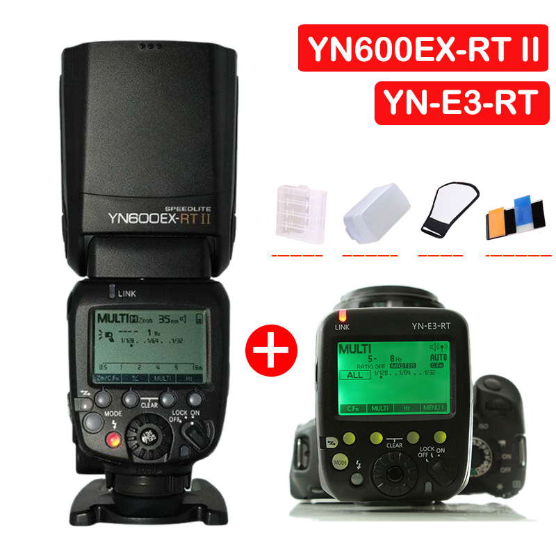 YONGNUO YN600EX-RT II Auto TTL HSS Flash Speedlite With YN-E3-RT Controller for Canon 5D3 5D2 7D Mark II 6D 70D 60D yongnuo yn968ex rt e ttl wireless flash speedlite yn e3 rt for canon rebel t7i t6i t6s t6 t5 t5i t4i t3i t3 80d 77d 70d 60da