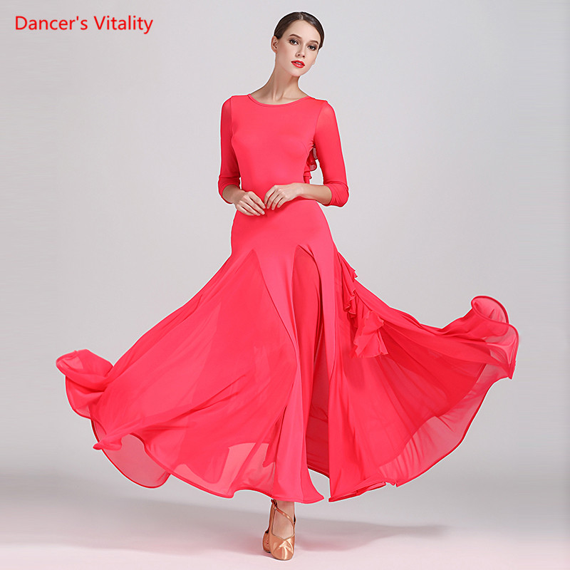 Lady's Ballroom Dance Dress Adult Female Long Sleeves V-Back Fishbone Dresses For Women Waltz Tango Dance Practice Costumes
