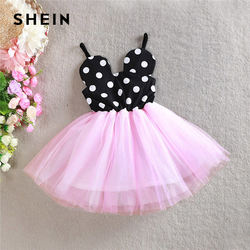 все цены на SHEIN Kiddie Toddler Girls Contrast Mesh Polka Dot Flare Cami Party Dress Girls Clothing 2019 Summer Girls Short Kids Dresses