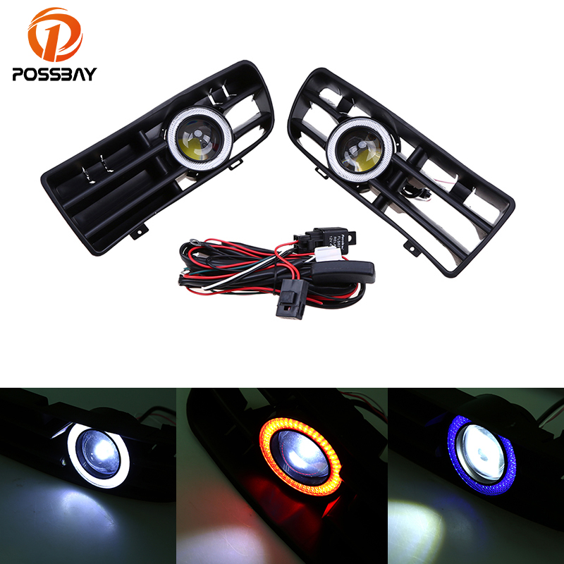 POSSBAY Auto Halo Rings for VW GOLF GTI MK4 1998-2004 LED Running Fog Lights Lamp White/Red/Blue Angel Eyes Front Grilles for vw golf gti tdi r32 mk4 1998 2004 front bumper grill with led angel eyes fog lights switch wiring kit 9443
