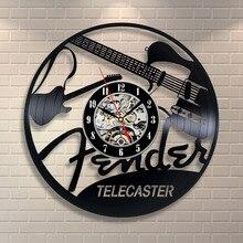 New Vinyl Record Design Wall Clock Telecaster Music Room Wall Clocks Quartz Mechanism Black Vinyl Record