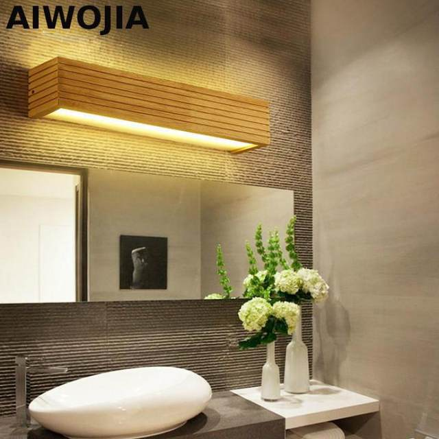 Online Shop Nordic LED solid wood Modern Wall Light mirror Appliques ...