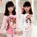 Meninas Longas Mangas Conjuntos de Pijama Menina Dos Desenhos Animados para o Outono de 2016 Nova Crianças Pijamas Crianças Meninas Linda Sleepwear Conjunto