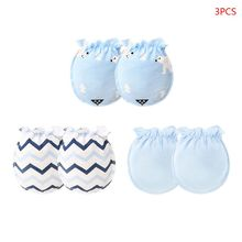 3 Pair/Set Blended Cotton Baby Gloves 0-6 Month Newborn Infant Anti-grab Glove Foot Cover Thin New