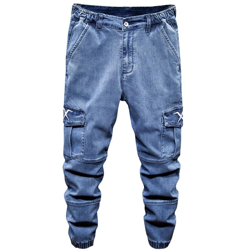 Oversized S-7XL New Harem Jeans Men Retro Denim Trousers Fashion Elastic Waist Stretch Streetwear Male Loose Cargo Jeans