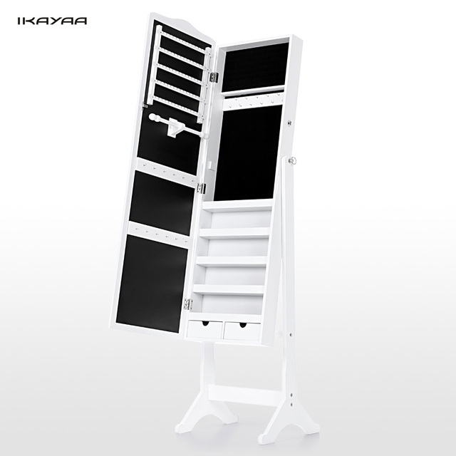 IKayaa US UK FR Stock Lockable Standing Jewelry Cabinet Armoire Tilt Jewelry  Storage Box Organizer With