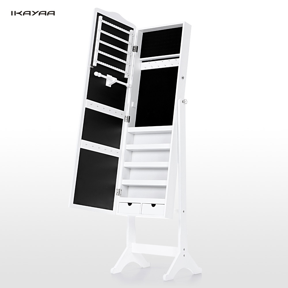 Full height mirrored cabinet another play on the rotating cabinet - Ikayaa Us Uk Fr Stock Lockable Standing Jewelry Cabinet Armoire Tilt Jewelry Storage Box Organizer With