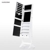 iKayaa US UK FR Stock Lockable Standing Jewelry Cabinet Armoire Tilt Jewelry Storage Box Organizer with Dressing Mirror