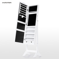 iKayaa US UK FR Stock Lockable Standing Jewelry Cabinet Armoire Tilt Jewelry Storage Box Organizer with Dressing Mirror