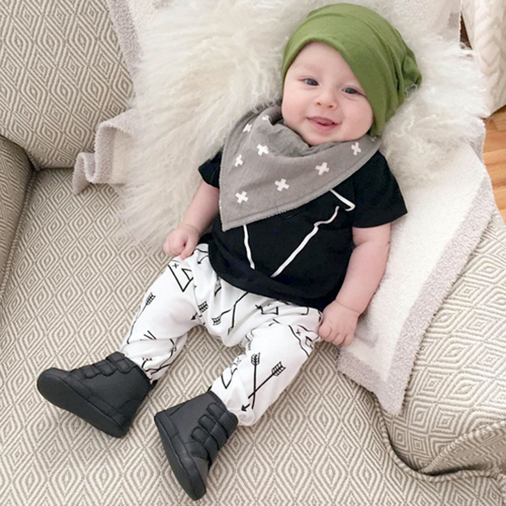 Baby Boy Short Sleeve Black Tops Pants with Floral Printing Cotton Newborn Casual Clothes Set for 6 to 24 month