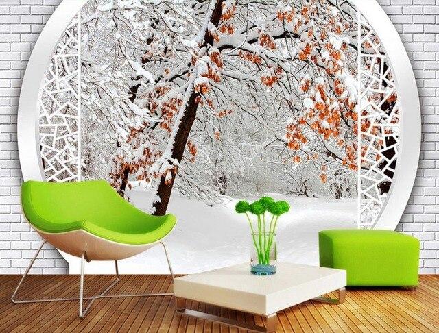3d stereoskopische tapete Kundenspezifische Winter wald schnee ...