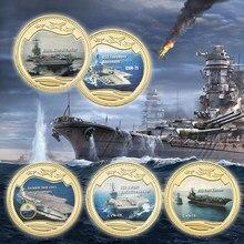 WR позолоченные монеты, сша, военный корабль морского флота, предназначенный для второй мировой войны, прямая поставка