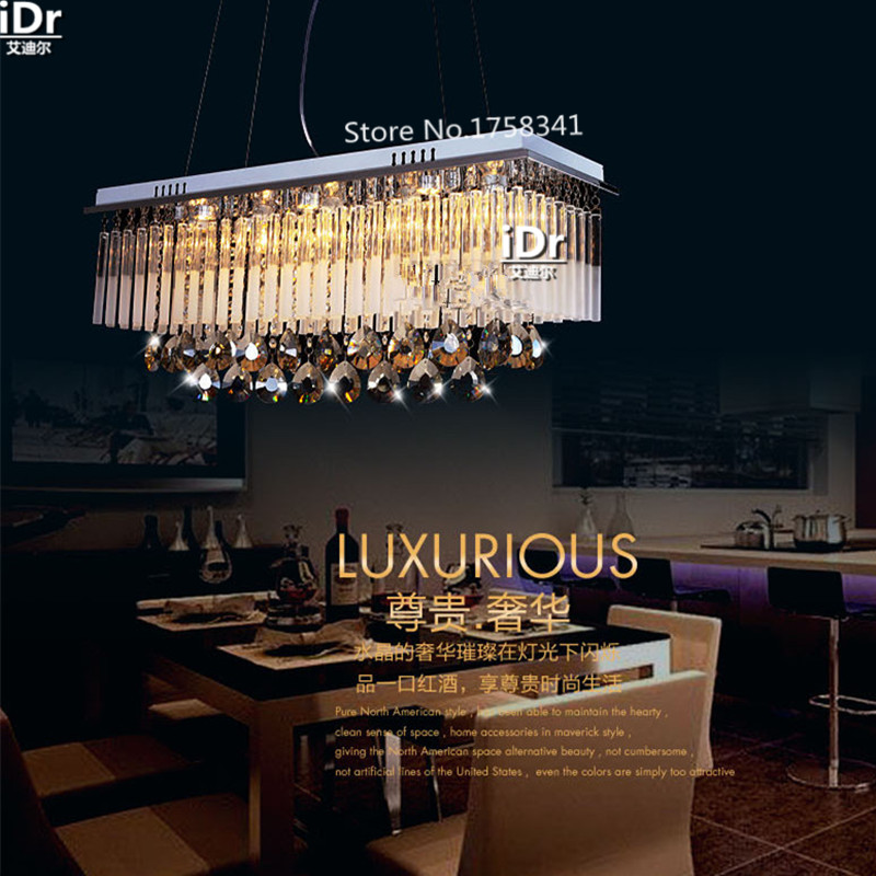 Modern First class K9 Crystal Chandelier Lamp The Rectangular Crystal Dining Chandelier Light Fixtures