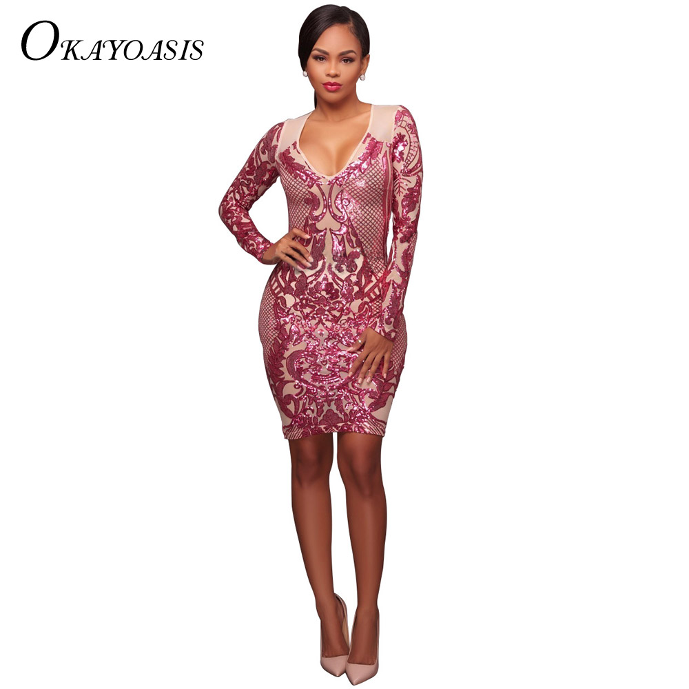 OKAYOASIS 2018 Elegant Shimmer Sequined Long Sleeve Celebrity Party Dress  Chic Women Geometric Nude Bodycon Dresses Vestidos 5ae8cdbdb9dd