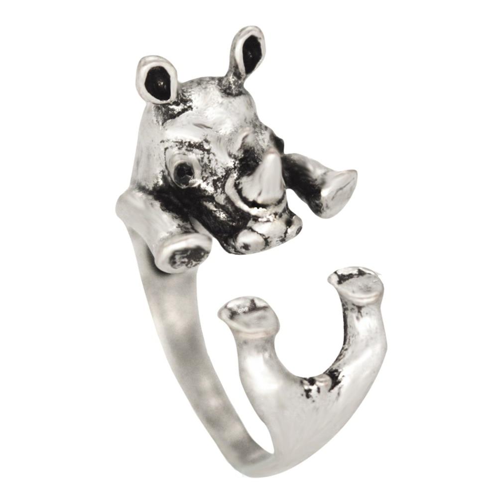 QIAMNI Hippie Rhino Antique Silver Rhinoceros Animal Knuckle Rings for Women Men Fashion Boho Chic Brass Anel Couple Jewelry