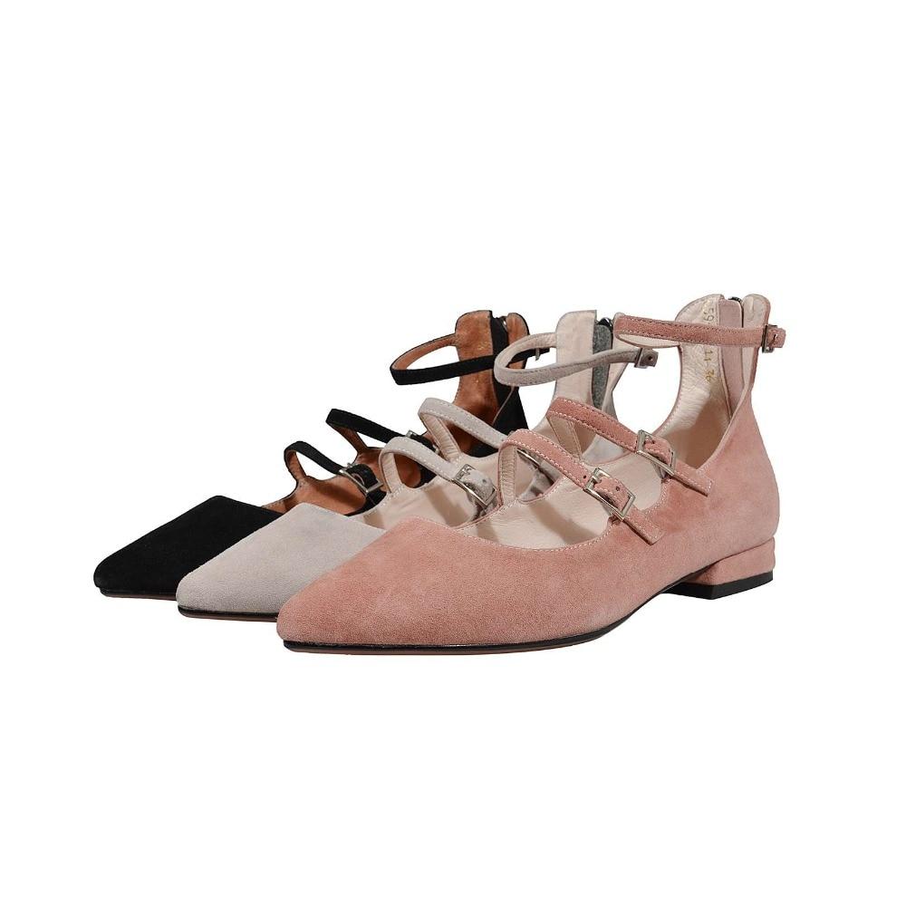 Zipper Noir En Profonde Peu Lenkisen Simple grey Pink Reto light Décoration Boucle Naturel Grey L26 Chaussures Fée Pointu Oxford Style Filles Bout Pompes Cuir Doux tP4wP6Rq