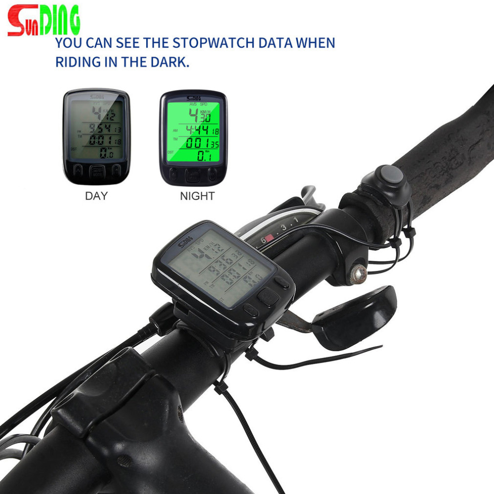 Sunding SD 563B Impermeabile Display LCD Bicicletta Della Bici Tachimetro Dell'odometro Del Calcolatore con Retroilluminazione Verde Nuovo CALDO