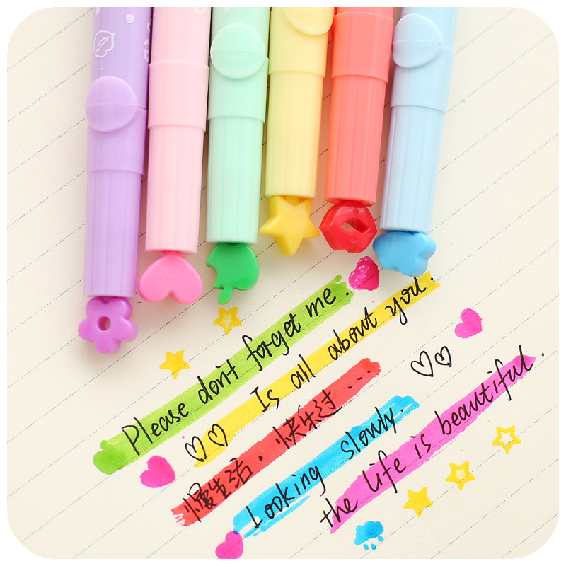 6 Pcs/Lot Nice Highlighter Color Stamp Marker Pens DIY Scrapbooking Tools Zakka Stationery Canetas Escolar School Supplies F285