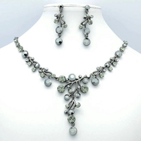 High Quality Real Austrian Crystals Rhinestone Black Jet Leaves Necklace Earring Jewelry Set JN0558 Clearance Sale