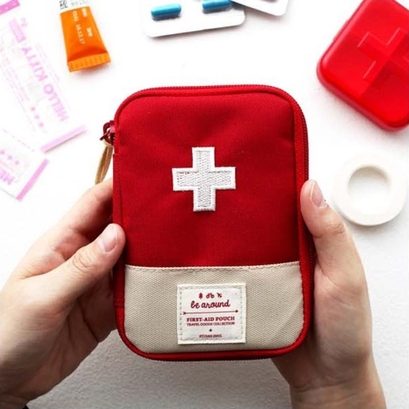 Cute First Aid Kit Mini Survival Emergency Bag Multi-Layer Pouch Outdoor Sport Travel Medical Storage Holder For Kids Children