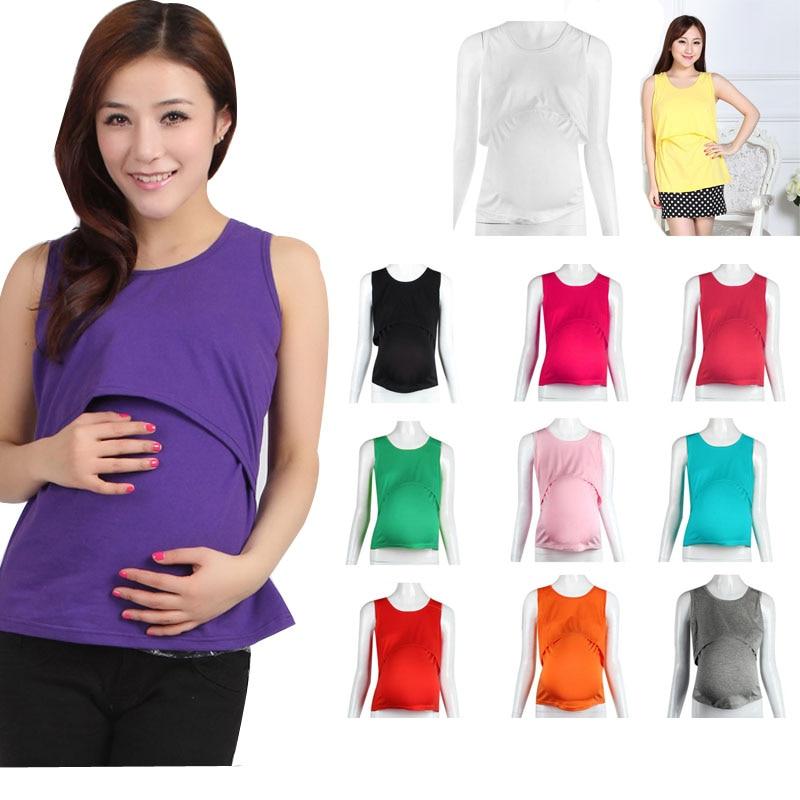 hot summer women cotton solid vest shirts maternity