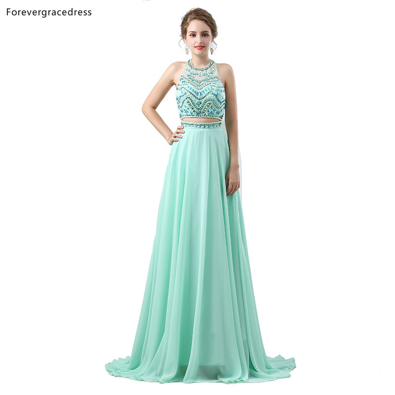 Forevergracedress Sexy Two Pieces   Prom     Dresses   2019 New Arrival Halter Beaded Formal Party Gowns Plus Size Custom Made