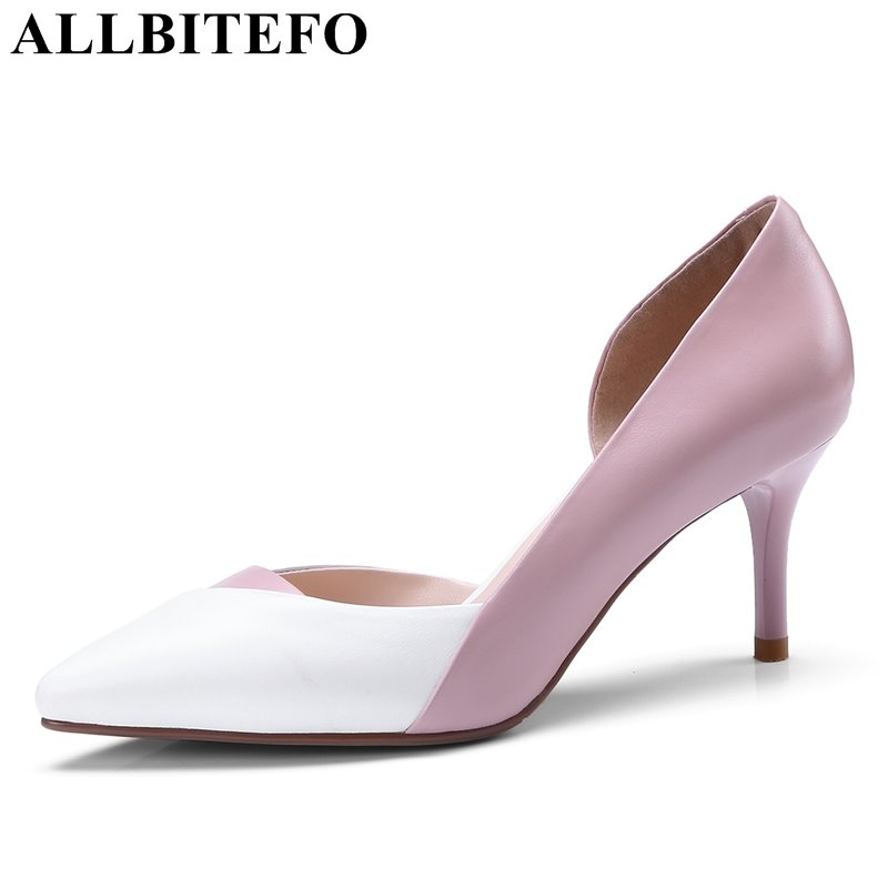 ALLBITEFO genuine leather mixed colors high heel shoes 2018 spring high heels women pumps office ladies shoes girls shoes girls and ladies favorite white roller skates with full grain genuine leather dual lane roller skate shoes for adult skating