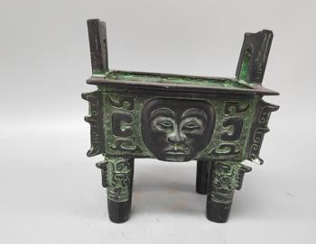 Chinese archaize bronze face sculpture incense burner