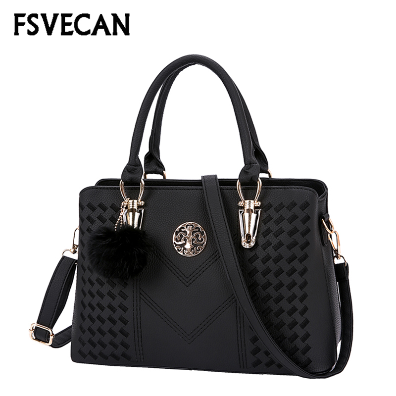FSVECAN Luxury Designer Bags For Women 2018 High Quality Leather Vintage Handbag Ladies Party Fur Ball Shoulder Bag Bolsos Mujer
