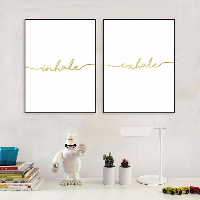 Inhale Exhale cita impresiones pared arte minimalista lienzo pintura ...