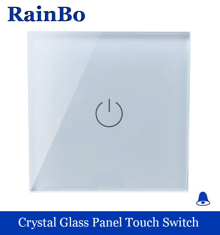 rainbo Crystal Glass Panel Switch  EU Touch Switch Screen Wall Door bell Switch 1gang1way 110~250V Door Bell Switch A1911MLW/B touch smart home switch screen white crystal glass panel switch eu wall switch ac250v wall light switch 1 gang 1 way rainbo