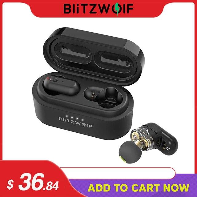 [Dual Dynamic Driver] Blitzwolf BW-FYE7 TWS bluetooth 5.0 słuchawki ciężki bas Stereo dwustronnych połączeń słuchawki douszne z okno ładowania
