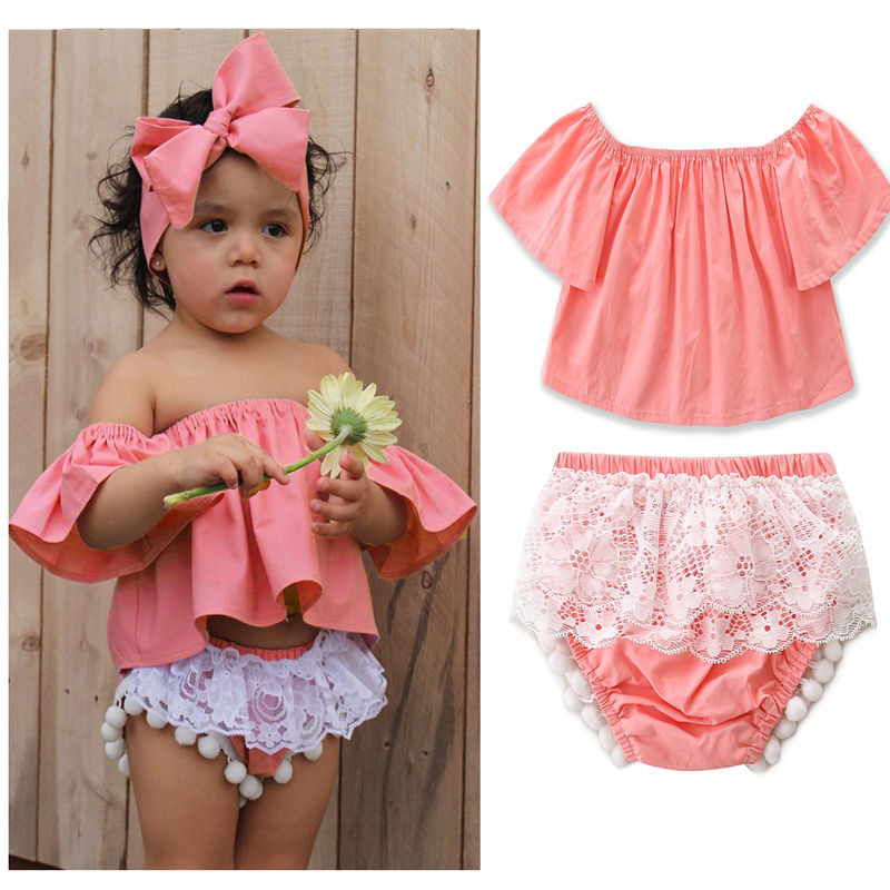 a389fbf0039fd 2017 New Brand Baby Girl Infant Kids Off-shoulder Tops+Lace Ruffle Shorts  Clothes Outfit Summer Clothing Set