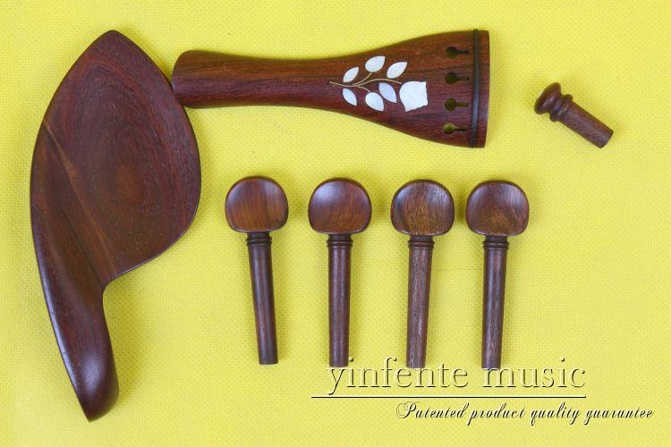 New 1 set violin parts rosewood shell inlay 4/4 violin accessories 1 set new   chinrest, pegs, tailpiece, endpin
