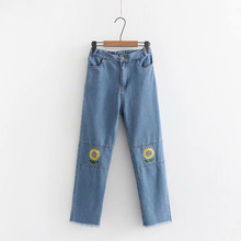 Harajuku Vintage Soft Sister Tassel Denim Pants Japanese Style Sunflower Embroidery Jeans