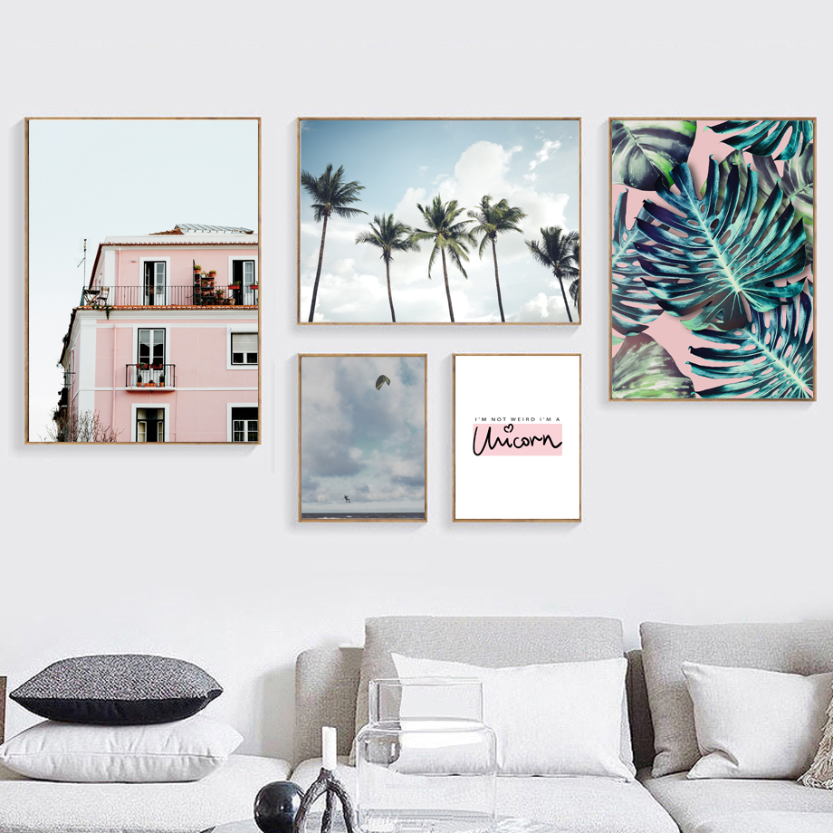 Coconut Palm Monstera Leaves Building Sky Wall Art Canvas Painting Nordic Posters And Prints Wall Pictures For Living Room Decor