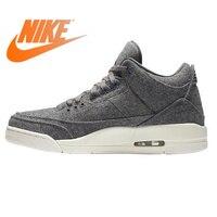 Оригинальные аутентичные Nike Air Jordan 3 Ретро шерсть темно серый шерсть Мужская баскетбольная обувь AJ 3 Мужская Массажная спортивная обувь