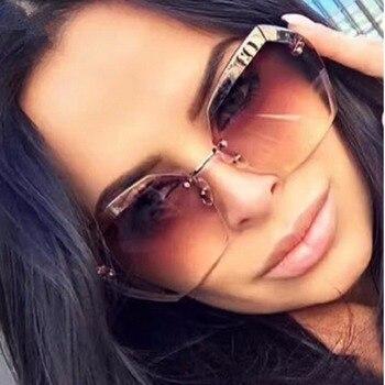 2018 Luxury Vintage Rimless sunglasses women Brand Designer Oversized sunglasses Female sun glasses for lady Mirror Shades UV400