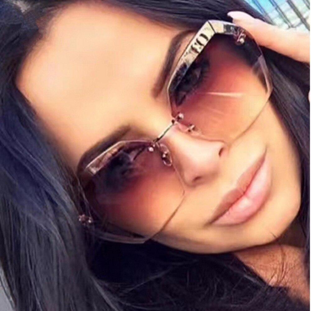 2018 Luxus Vintage Randlose Sonnenbrille Frauen Marke Designer Übergroßen Sonnenbrille Weibliche Sonnenbrille Für Dame Spiegel Shades Uv400