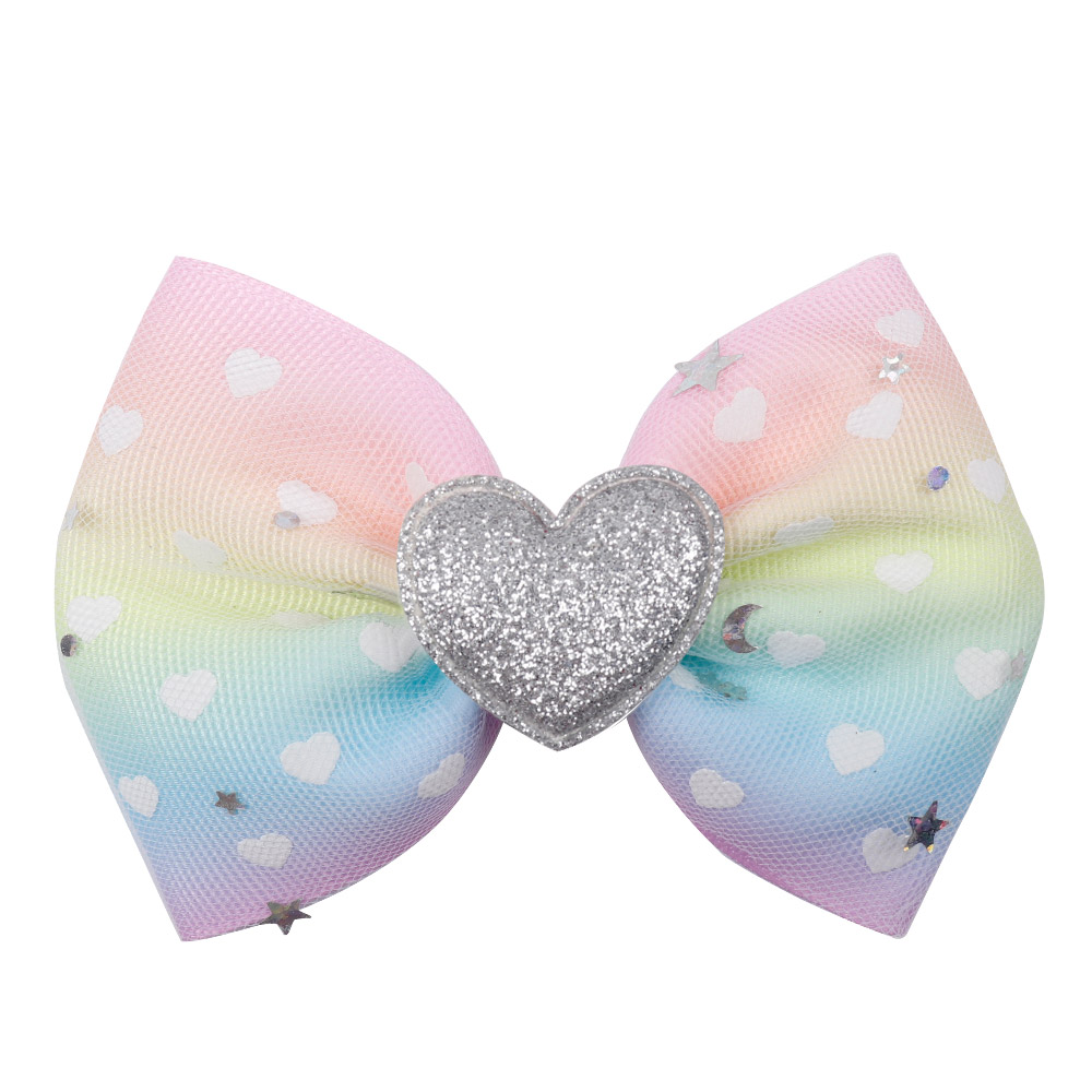 4 Inch Girls Pink Tulle Glitter Snowflake Hair Bow With Clip Grosgrain Ribbon