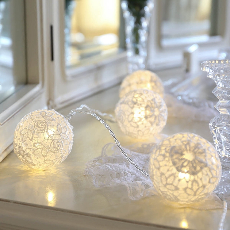 20Led Fairy Withe Lace Flower Ball Battery Operated String Light 3m LED Decoration For Christmas Garland New Year gerlyanda 2018 20led fairy metal gold watering can battery operated string lights 3m led decor for christmas garland on the window abajur