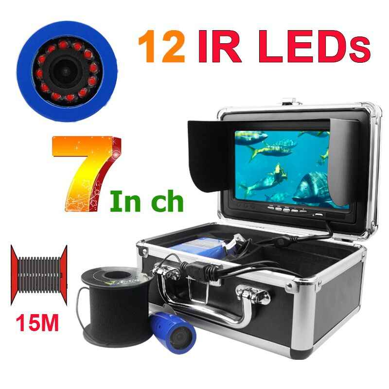 7.0 Inch 15m 1000TVL Underwater Fish Finder Fishing Camera 12pcs Infrared LEDs Lamp Fishfinder IP68 Waterproof