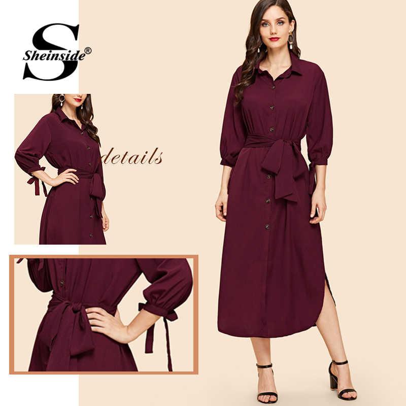 Sheinside элегантное Бордовое платье-рубашка с поясом для женщин 2019 весеннее Повседневное платье с коротким рукавом на шнуровке Макси однотонные прямые платья