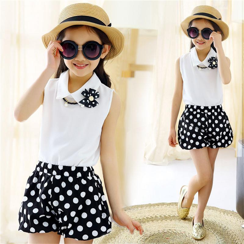 Hot Girls Summer Clothing Sets 2017 New Chiffon Fashion Dot Print T-shirts + Shorts 2pcs Baby Girl Clothes Kids Tracking Suit retail kids 2017 baby girls clothes summer girls clothing sets kids clothes girl denim t shirts denim shorts sets 2 6 years 2