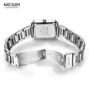 Image 5 - Megir נשים פשוט נירוסטה קוורץ שעון עם לוח שנה תאריך תצוגת אופנה עמיד למים שמלת שעון יד עבור Ladies1079L