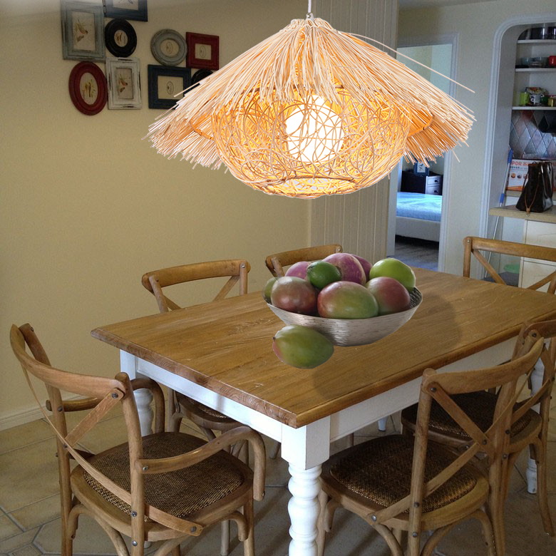 Bamboo Chinese garden rattan pendant light simple creative dining room balcony restaurant lighting lamps weaving farm ZH zb22 loft garden pendant lamps  bamboo